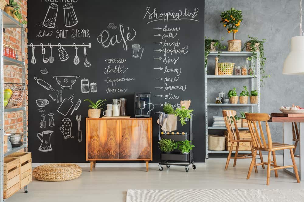 Attach a Chalkboard for Grocery Lists kitchen cabinet hardware ideas