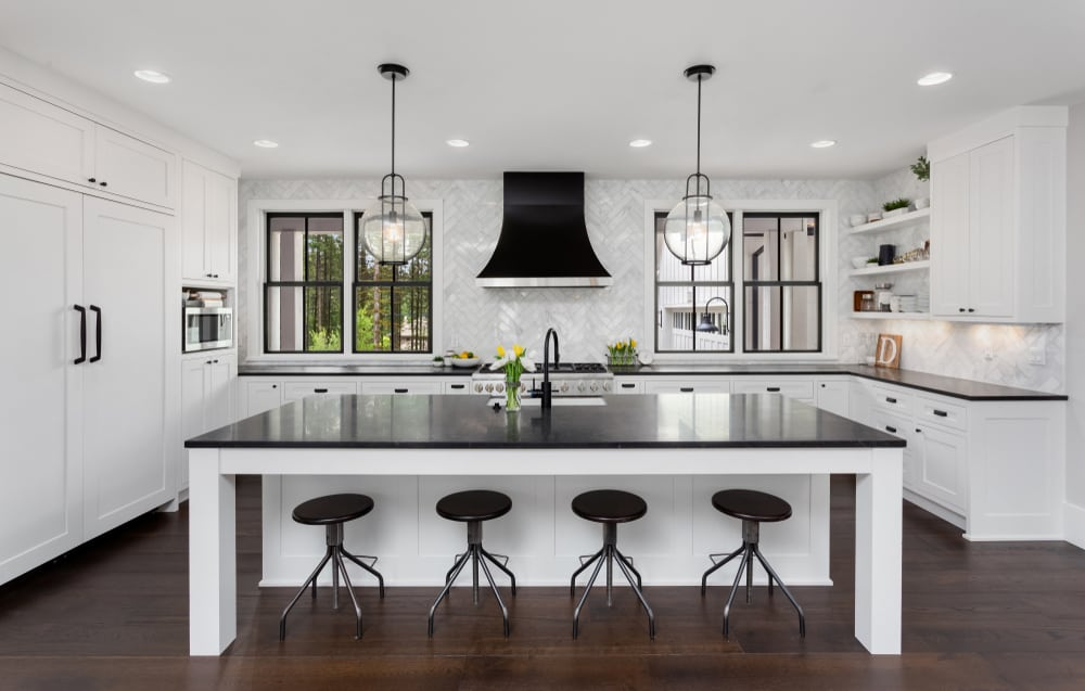 Black Rangehood and Windows monochrome kitchen ideas