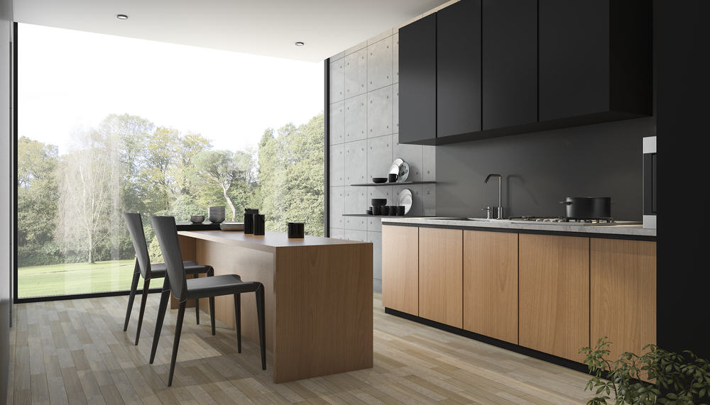 Black and Wood kitchen cabinet ideas