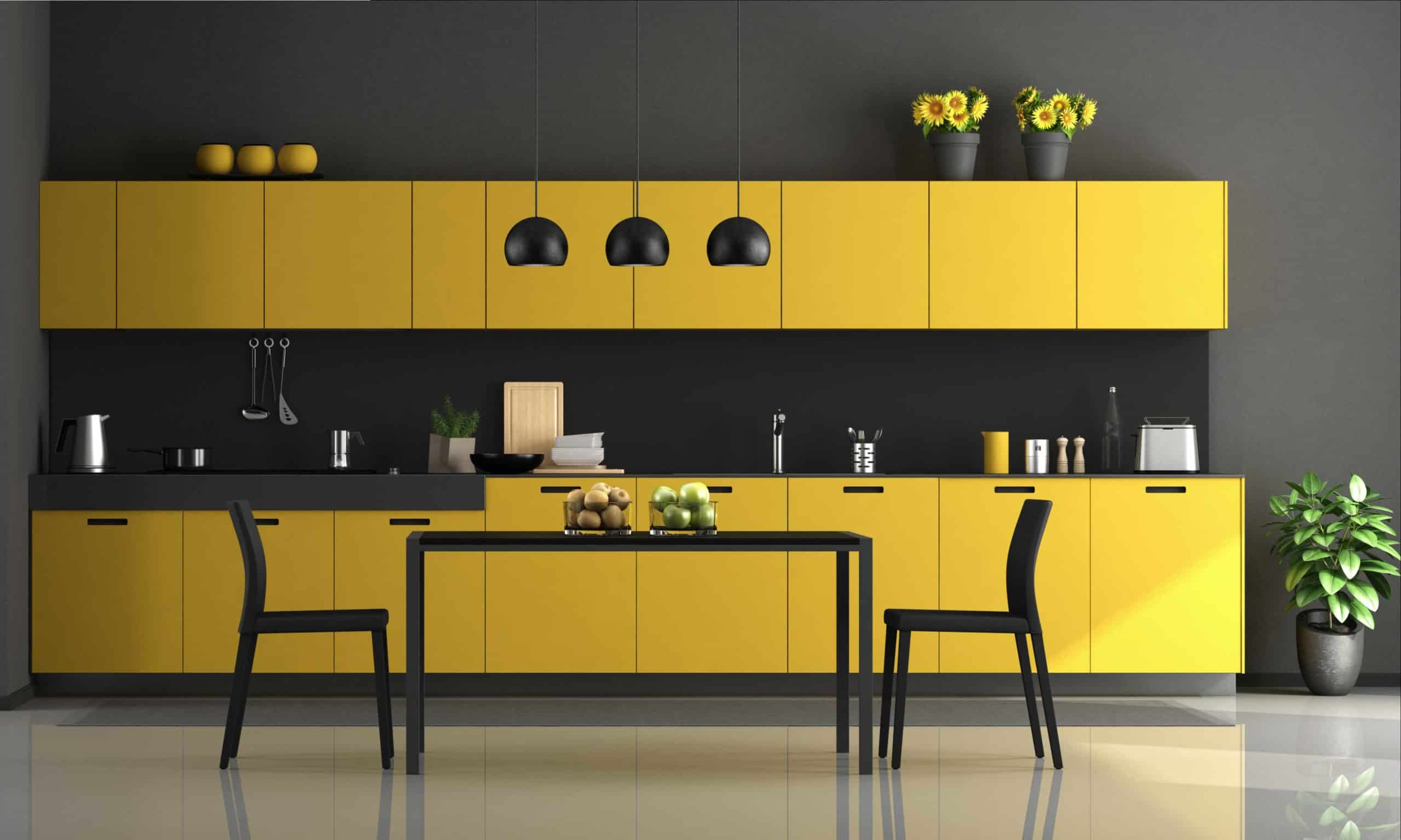 Black and Yellow modern kitchen ideas