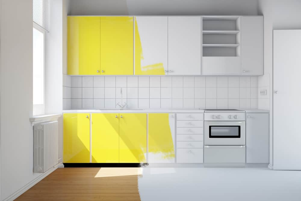 Buttercup Yellow painted kitchen cabinets ideas