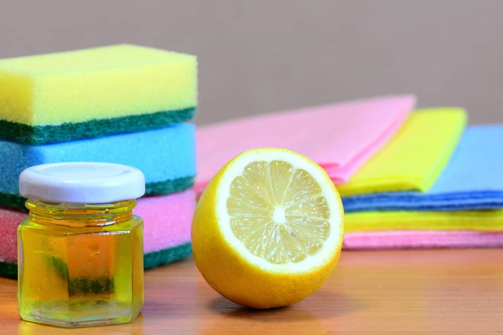 Cleaning Kitchen Cabinet with Natural Citrus Oils