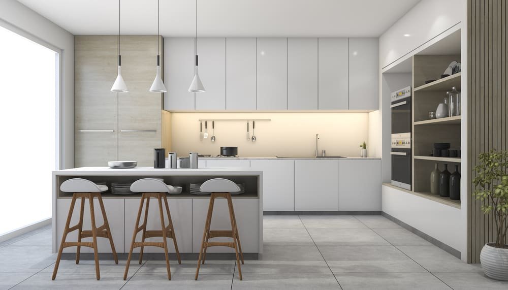 Contrasting Cabinets and Shelves white kitchen ideas