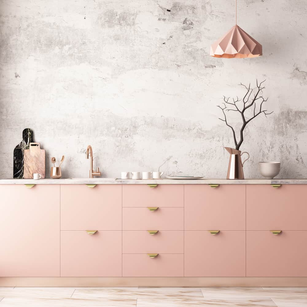 Coral and Rose Gold on Marble kitchen wallpaper ideas