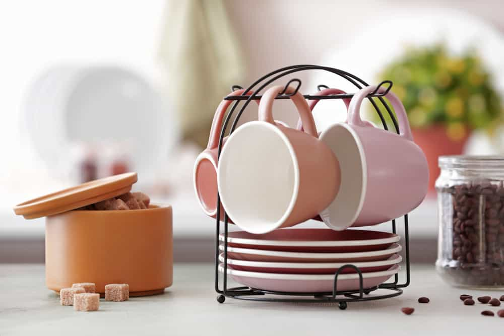 Cups and Saucers Holder kitchen coffee bar ideas