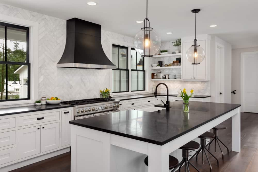 Dark Countertops and White kitchen makeover ideas