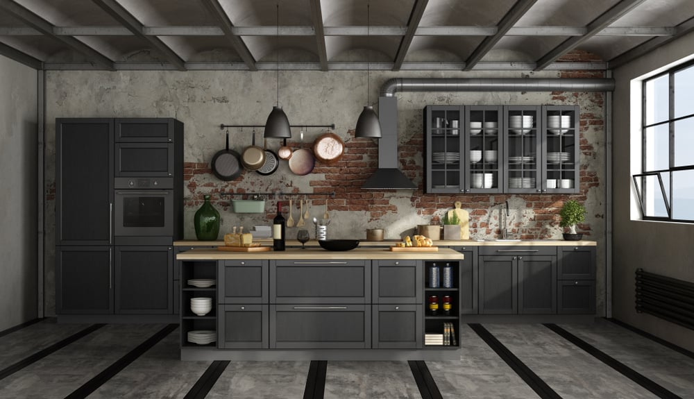 Exposed Brick Wall cabin kitchen ideas