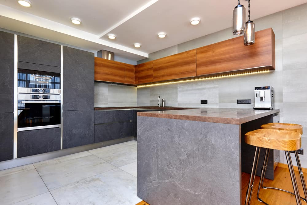 Flat Panel Marble and Wood modern kitchen ideas