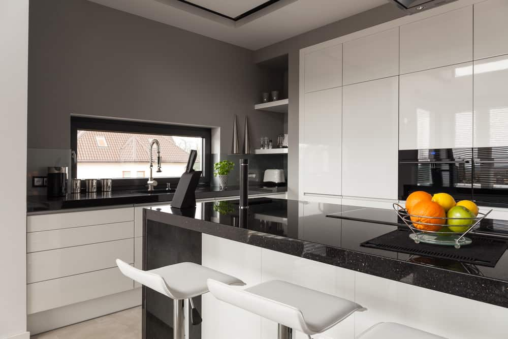 Glossy Black and White kitchen cabinet ideas