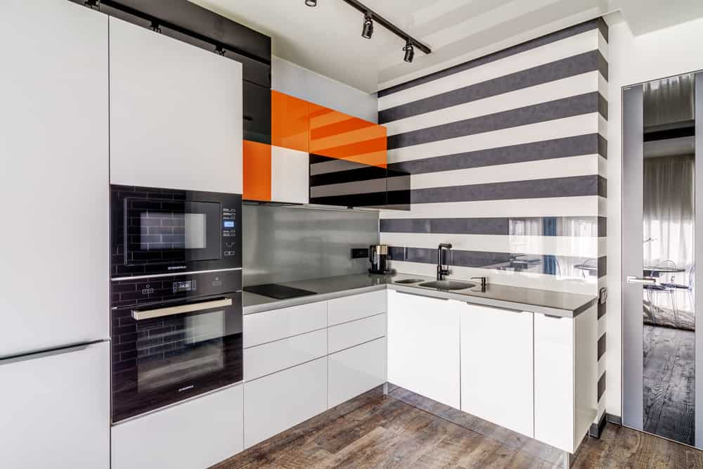 Gray and White Stripes kitchen wallpaper ideas
