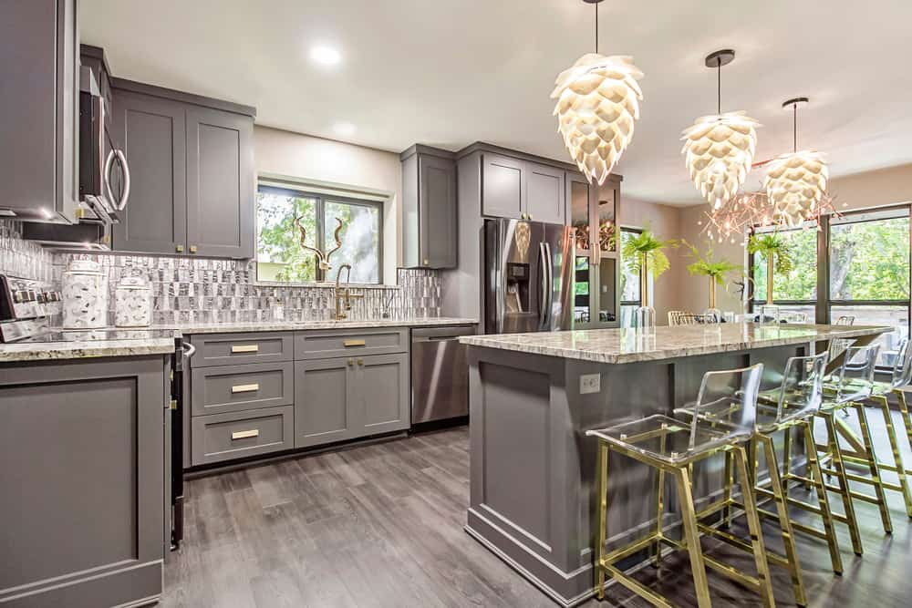 Gray with a Touch of Gold kitchen cabinet ideas