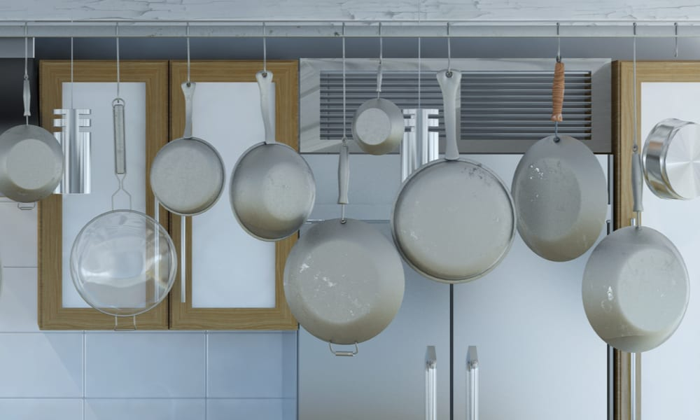 Hanging Pots and Pans gray kitchen ideas