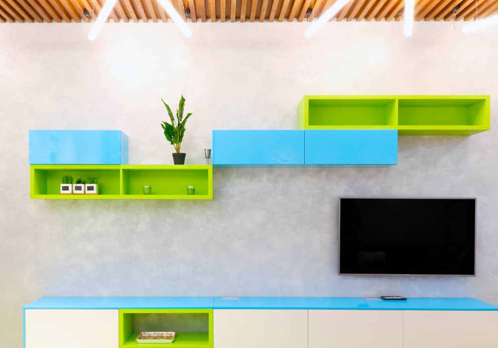 Lime Green and Turquoise Kitchen Shelves