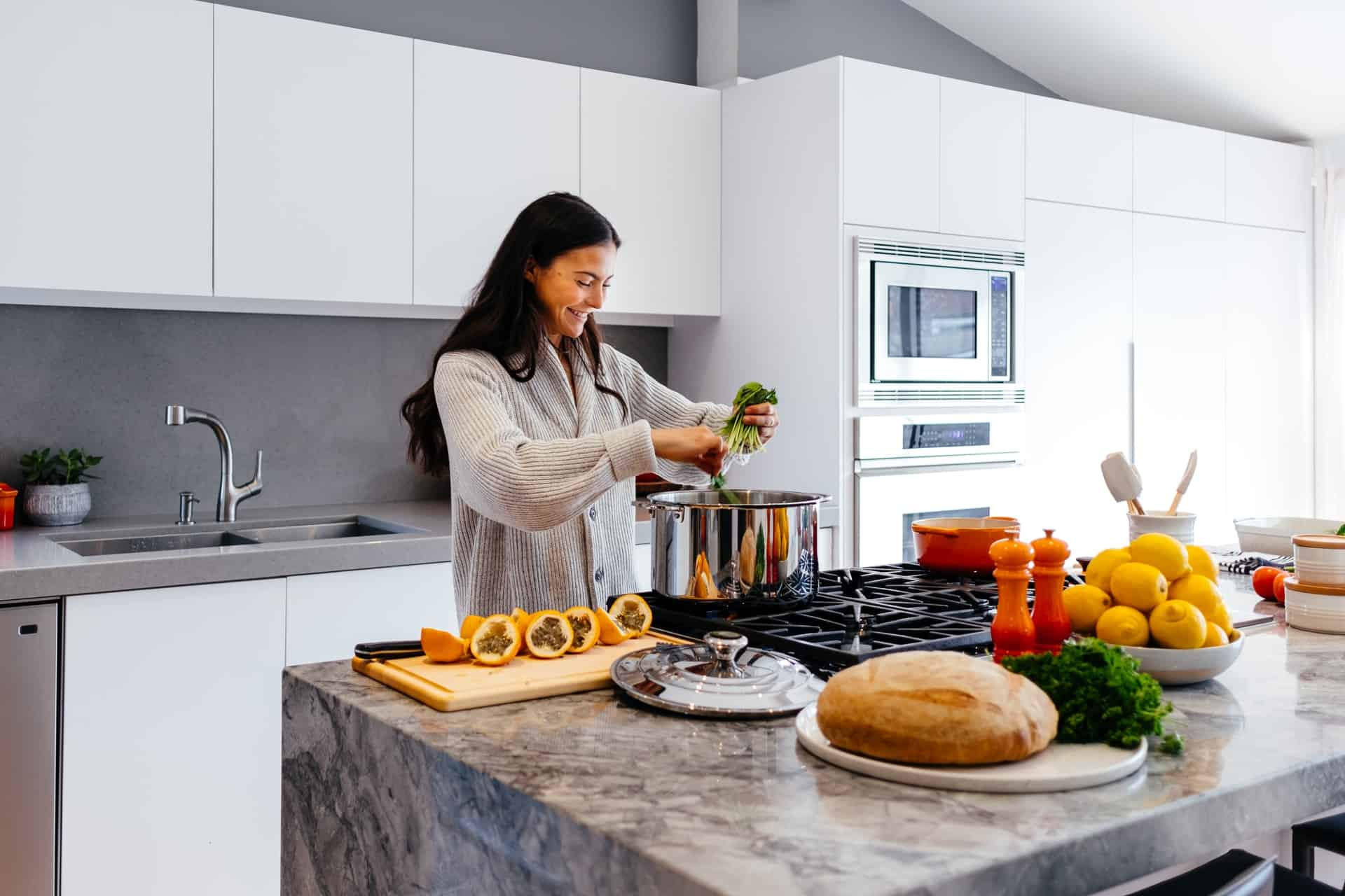 Marvel at the Beauty of Marble Countertops white kitchen ideas