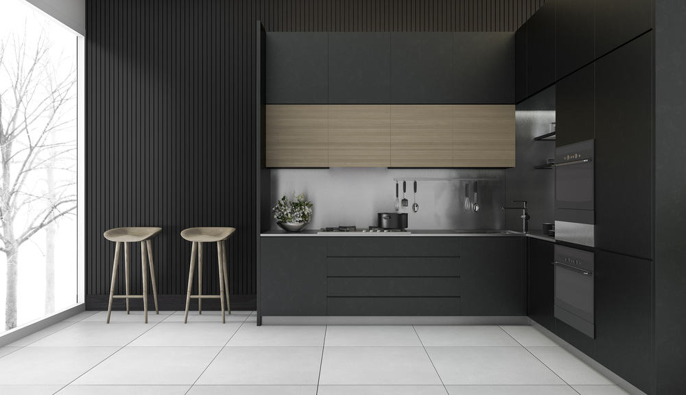 Matte Black with White Floor monochrome kitchen ideas