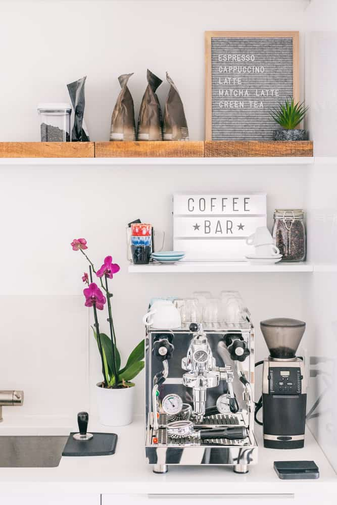 Mismatched Shelving kitchen coffee bar ideas