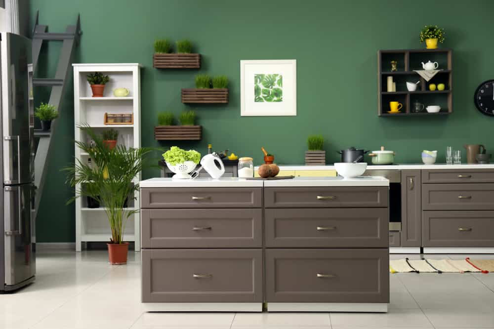 Olive Green and Taupe modern kitchen ideas