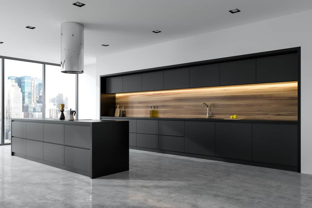 Panoramic Black Kitchen with a Hint of Wood modern kitchen ideas