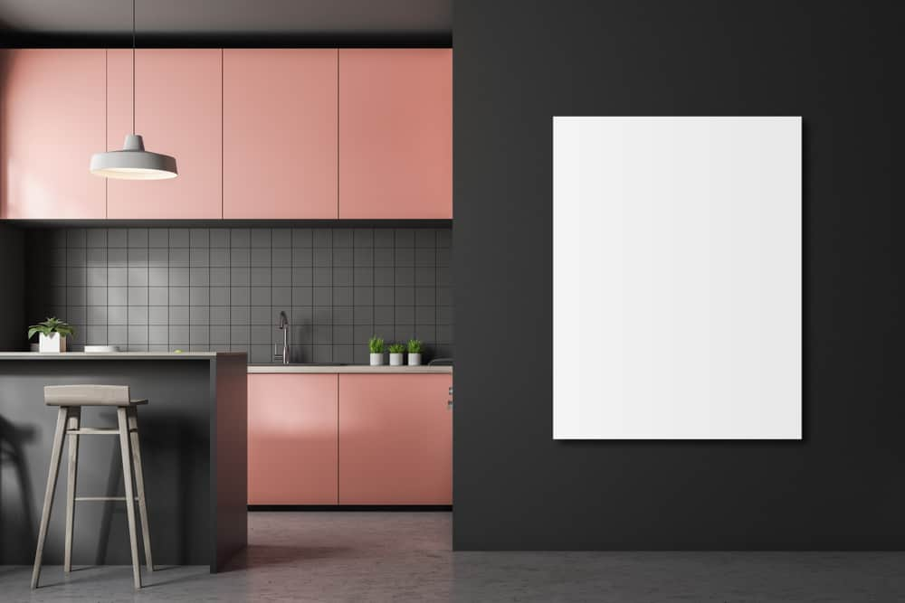 Pink painted kitchen cabinets ideas