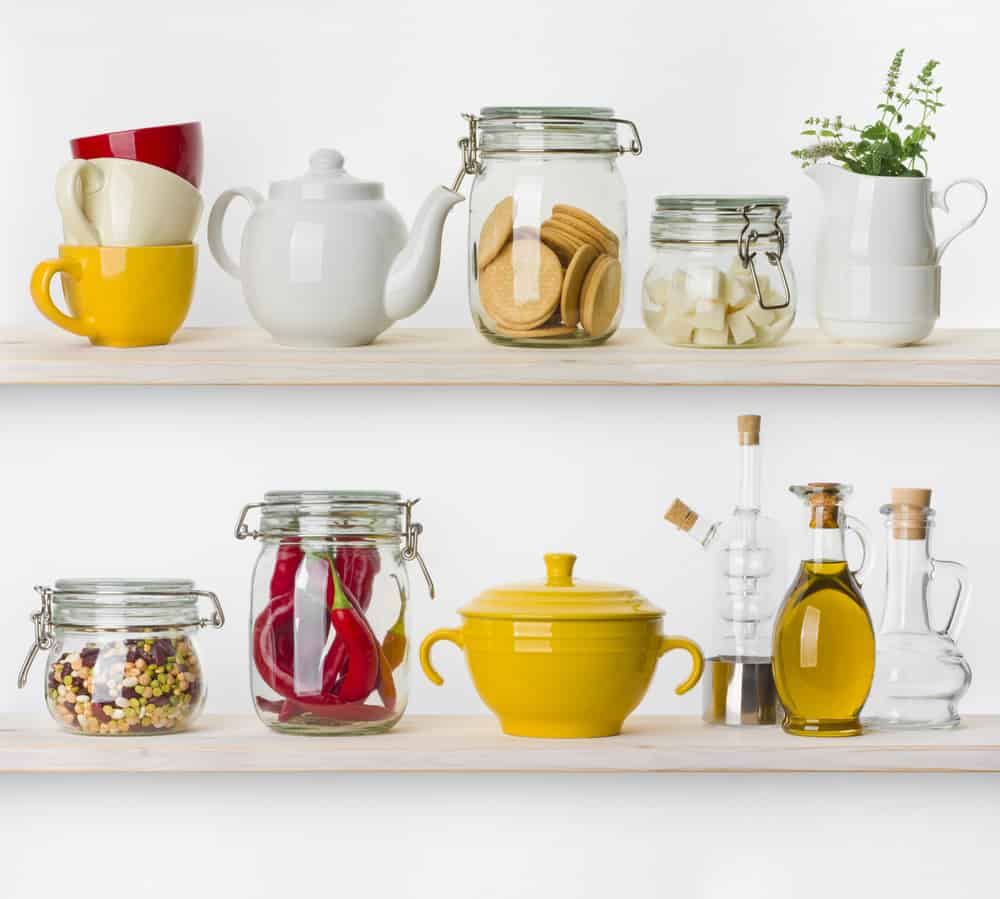 Plain kitchen Shelves with Colorful Accents