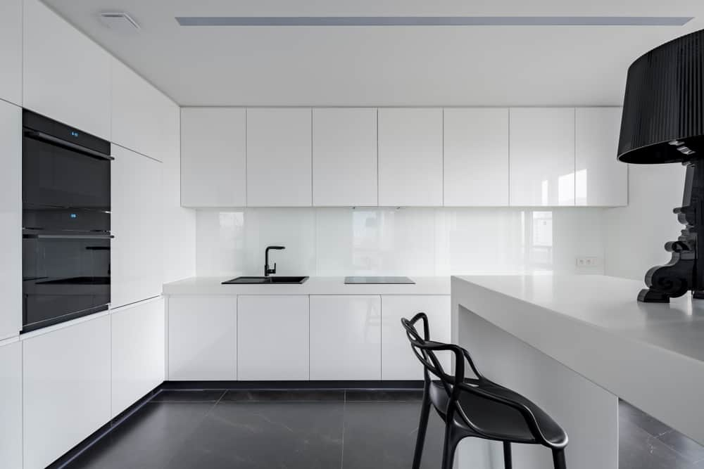 Sleek White with Black Appliances monochrome kitchen ideas