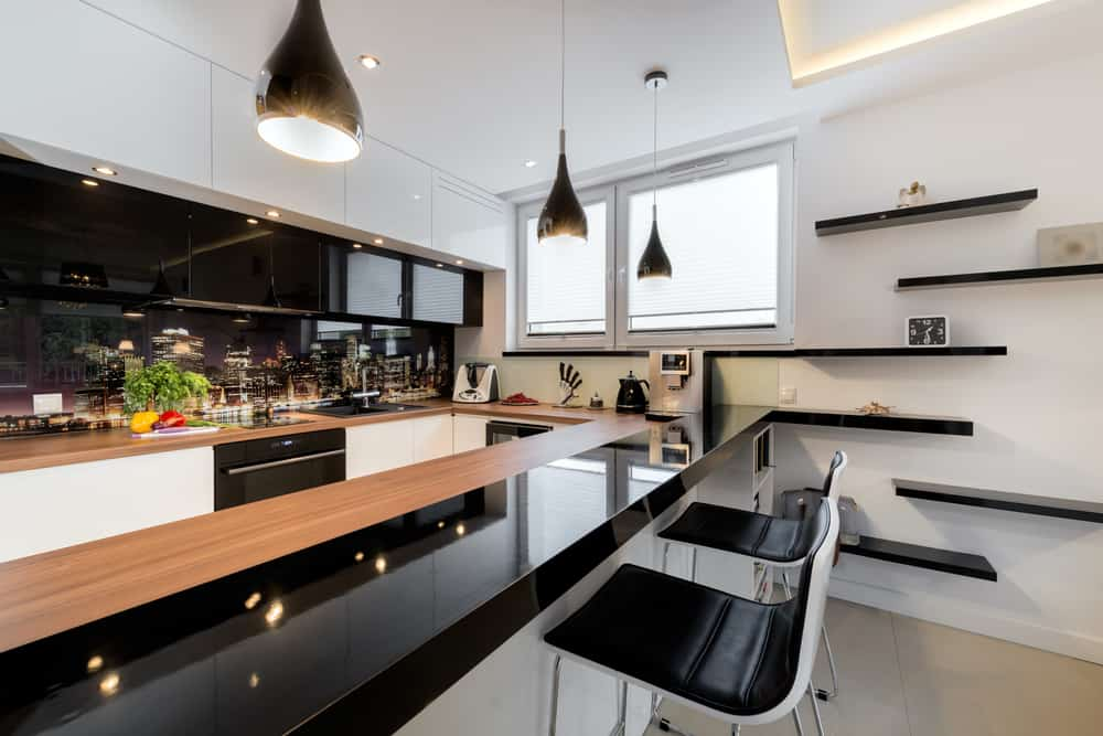 Staggered Black Shelving monochrome kitchen ideas