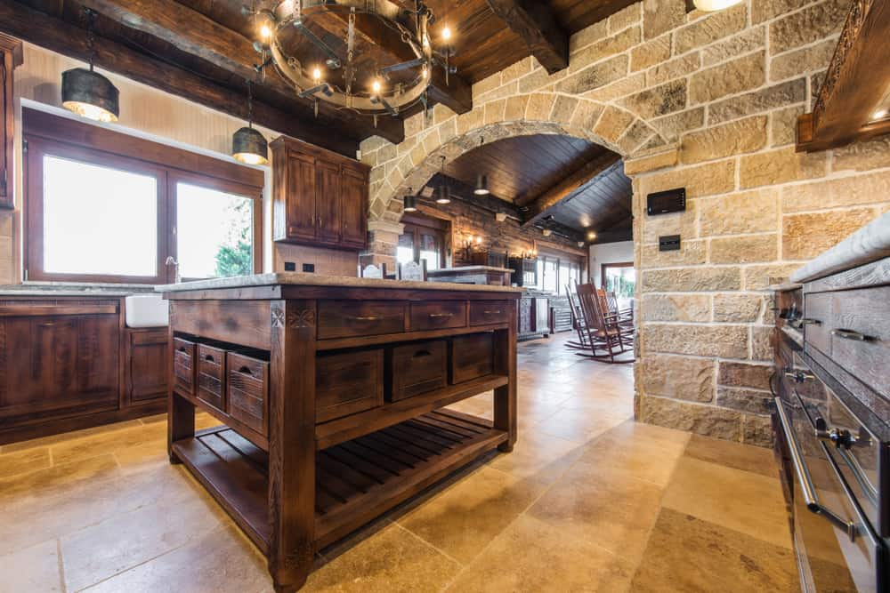 Stone Feature Wall cabin kitchen ideas