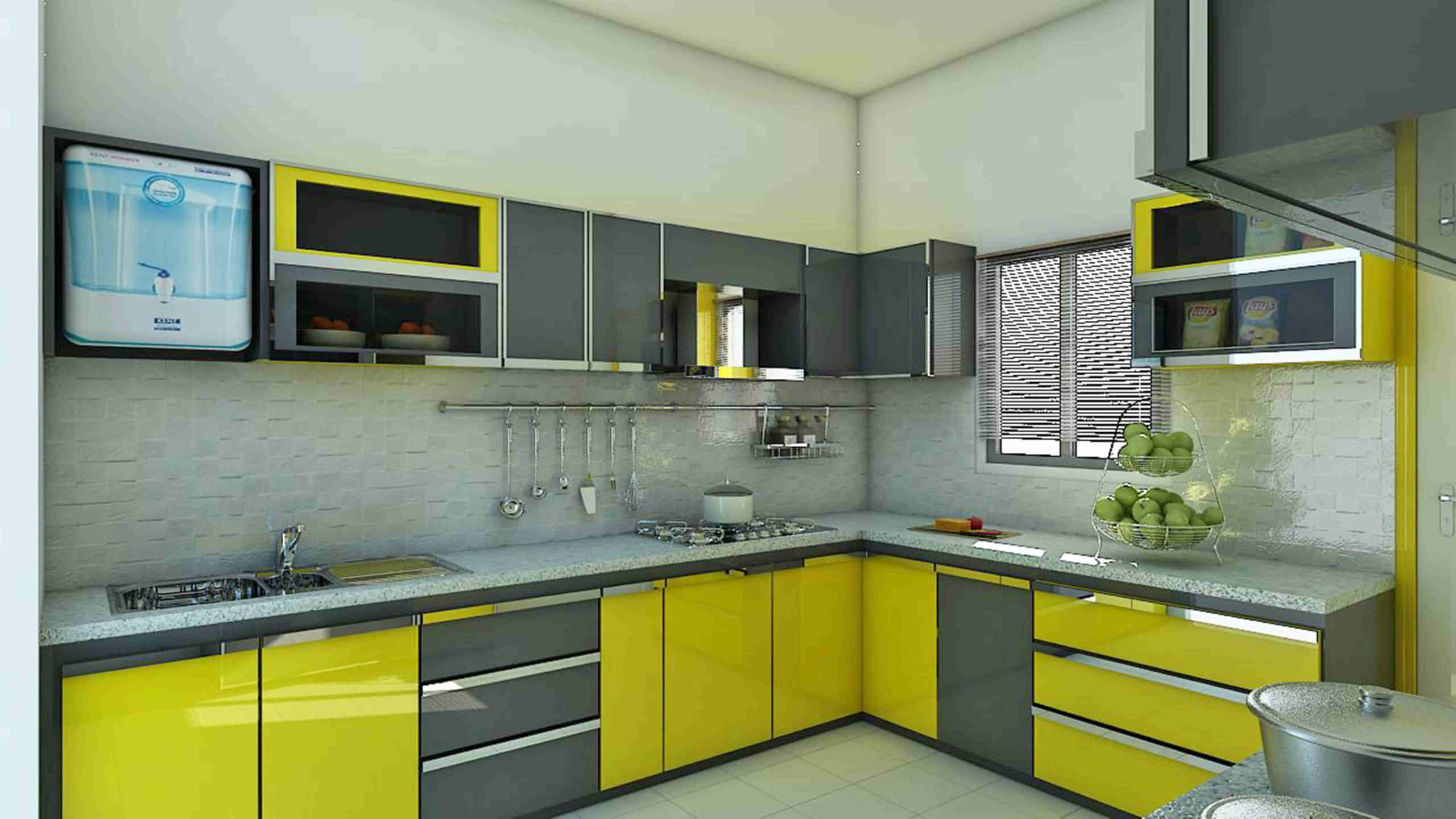 Sunflower yellow kitchen cabinet color ideas