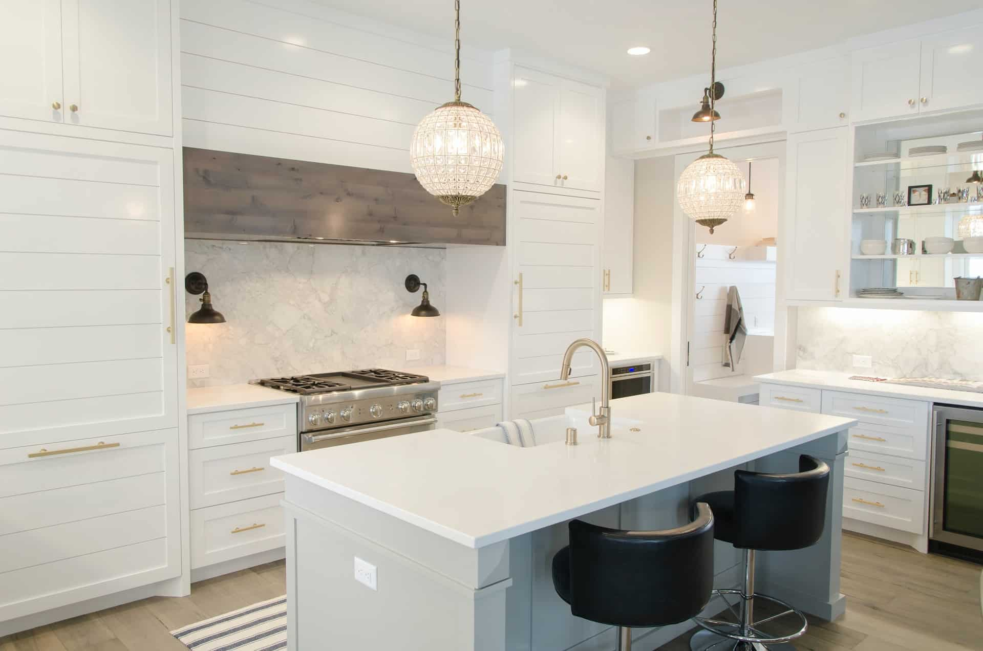 The White and Gold Peninsula kitchen peninsula ideas