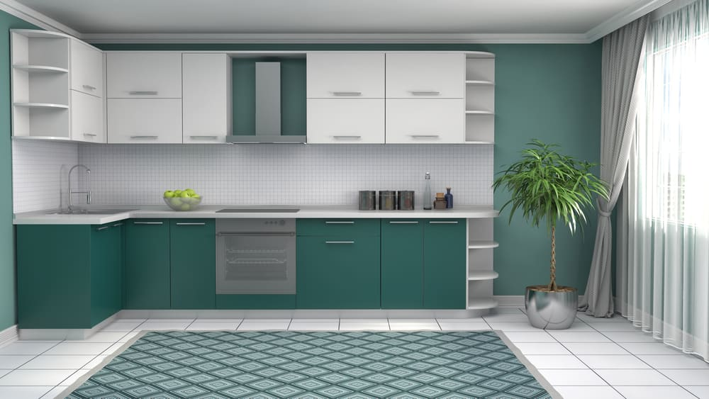 Tranquil Teal white kitchen ideas