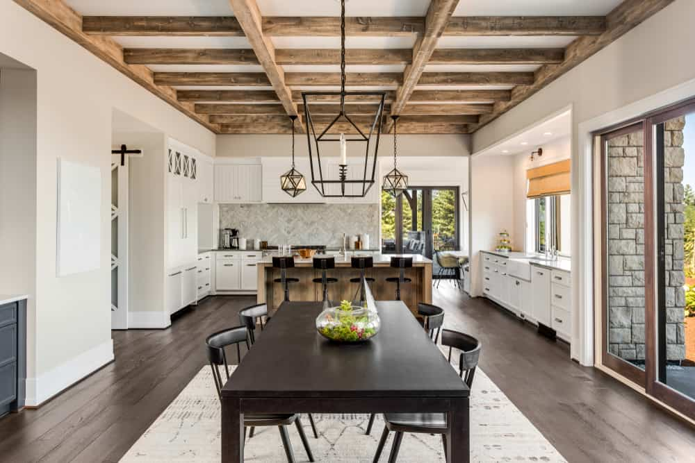 Unfinished Wooden Ceiling kitchen ceiling ideas