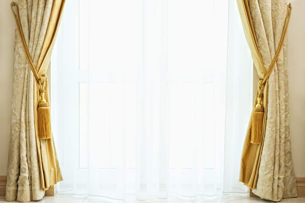 Velvet Gold for a Chic Vibe kitchen curtain ideas