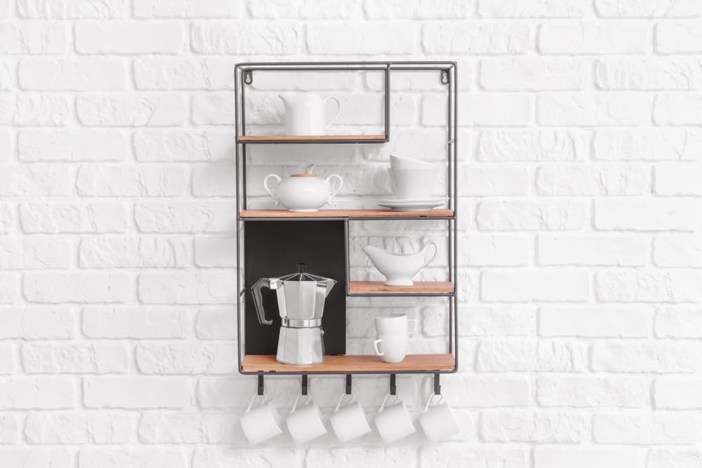 Wall-Mounted Shelving kitchen coffee bar ideas