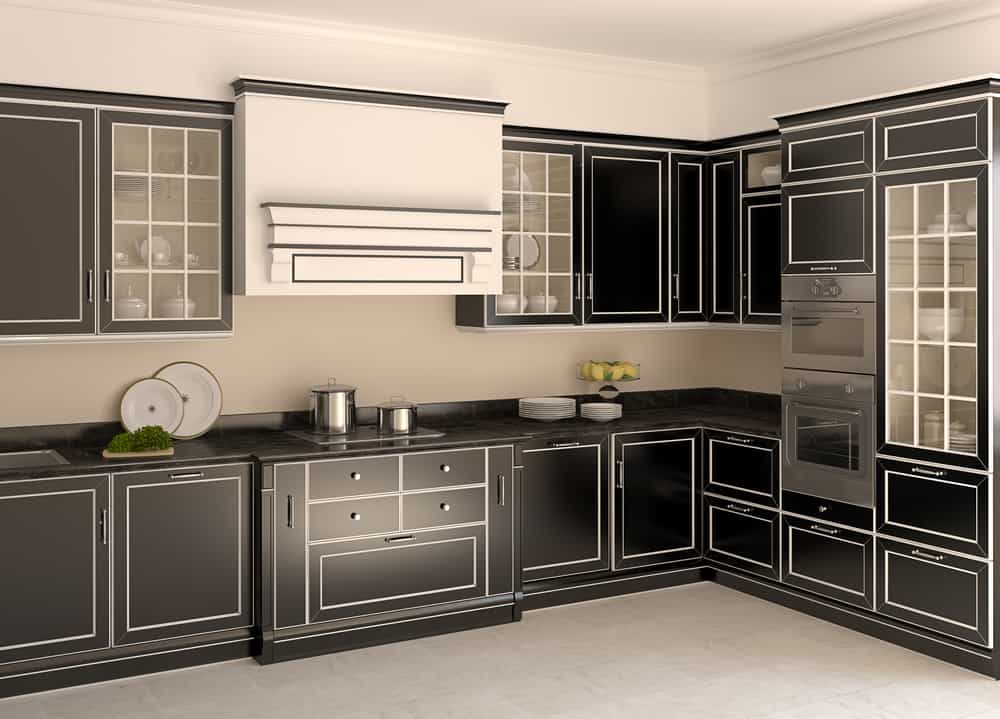 White Accents on Black Cabinets monochrome kitchen ideas