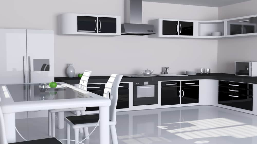 White Framework and Black Doors monochrome kitchen ideas
