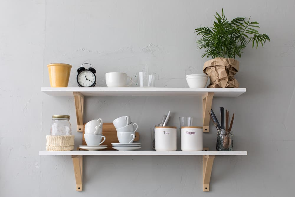 White Shelf with Wood Supports Kitchen Shelves