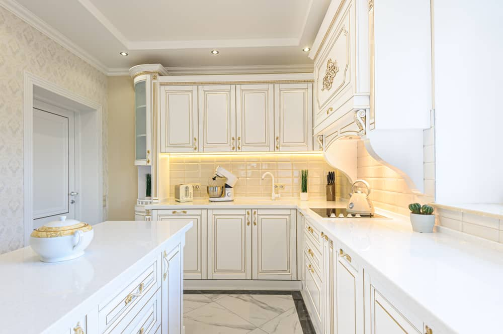 White and Gold kitchen cabinet ideas