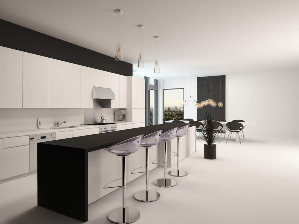 White with Black Breakfast Bar monochrome kitchen ideas