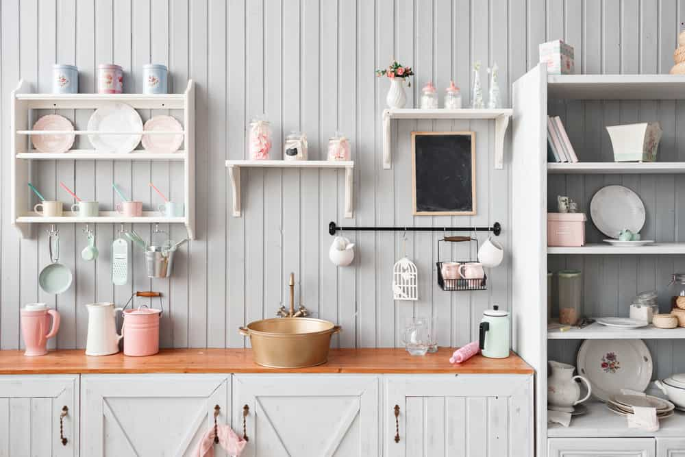 White with Pink Accents Kitchen Shelves
