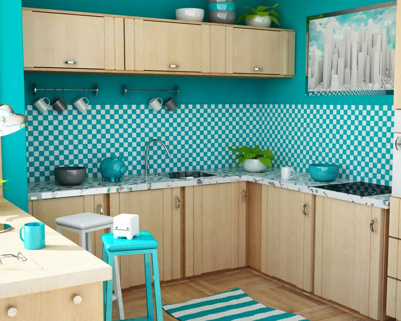 Bubble Gum Color retro kitchen ideas