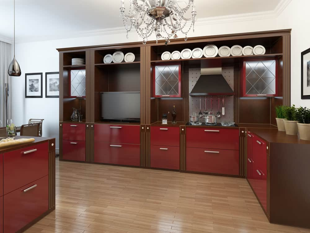 Dark Wooden Frame with Red Drawers red kitchen ideas