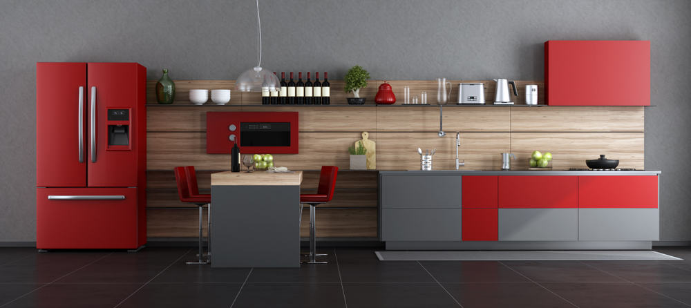 Matte Red Accents red kitchen ideas