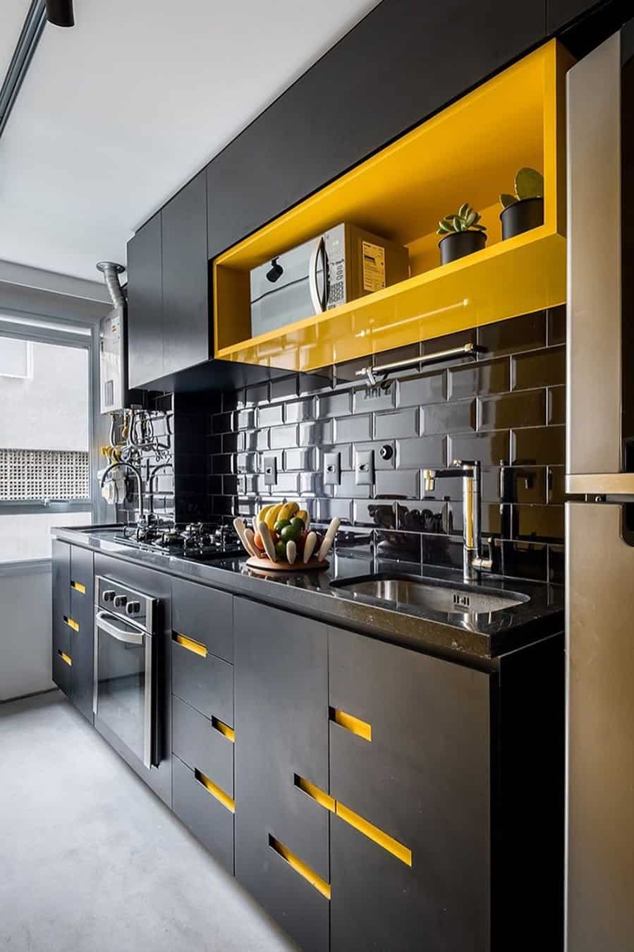Partial Yellow Colored Cabinetry yellow kitchen ideas