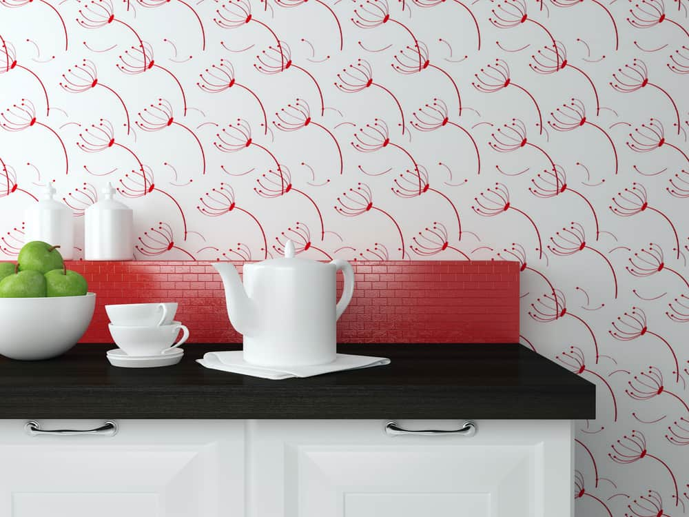 Patterned Red Wallpaper red kitchen ideas
