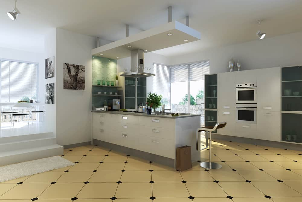 Patterned Yellow Floor Tiling yellow kitchen ideas
