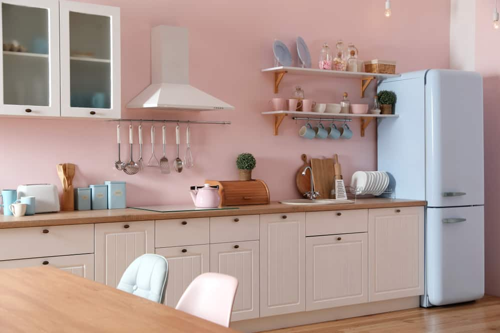 Pink and Sky Blue retro kitchen ideas