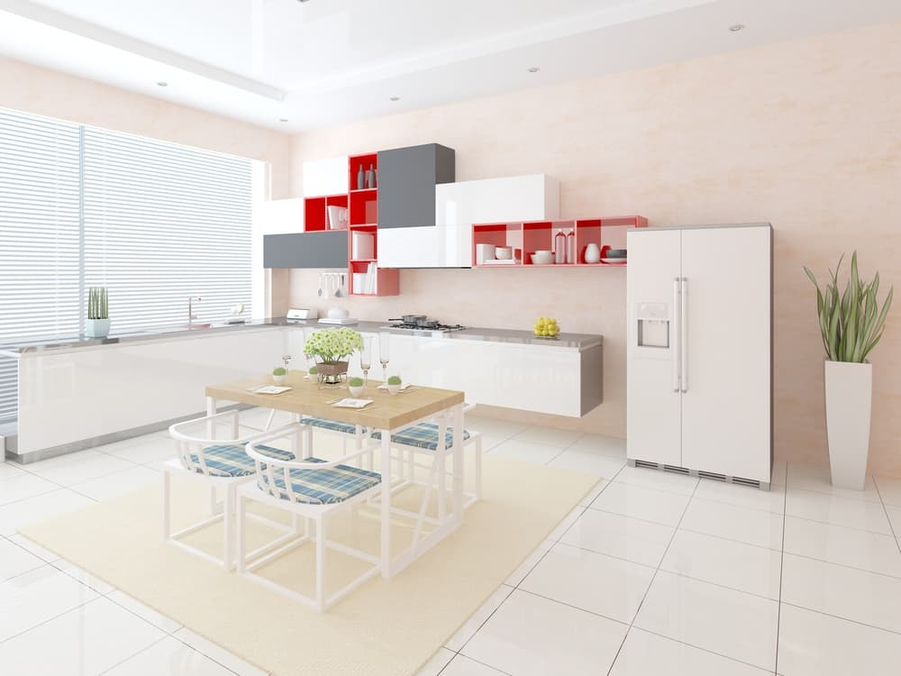 Red Accent Shelving red kitchen ideas