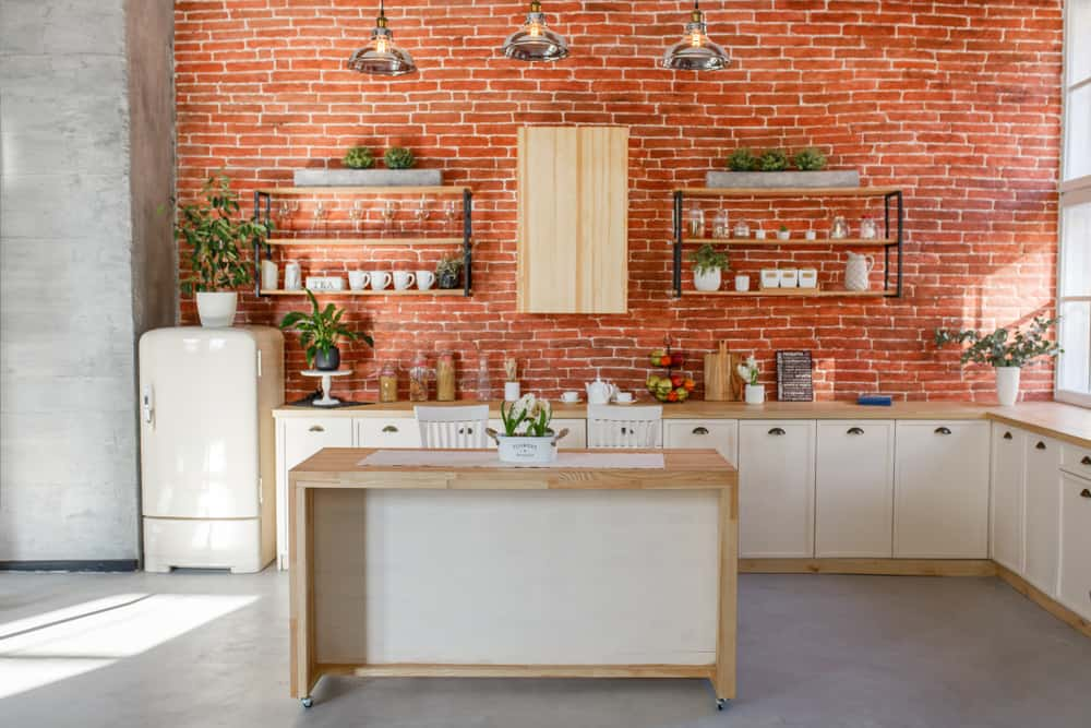 Red Brick Wall red kitchen ideas