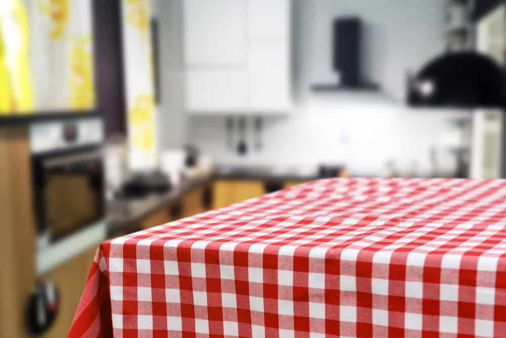 Red Checkered Tablecloth red kitchen ideas