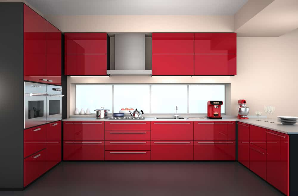 Red Gloss Cabinets red kitchen ideas
